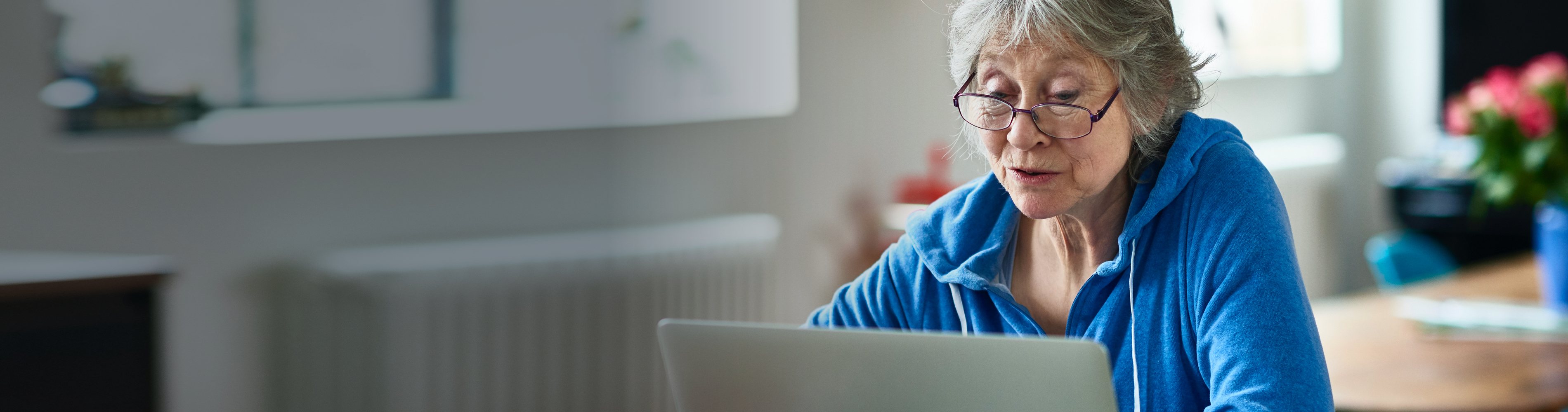 Senior woman researching on the computer